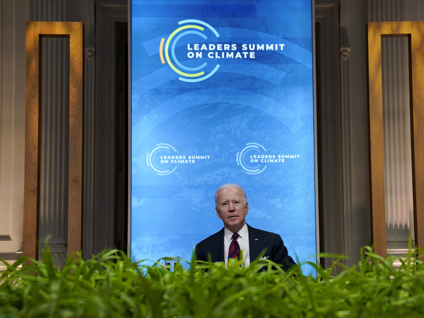 President Biden speaks to world leaders during a virtual summit on climate change on April 22.