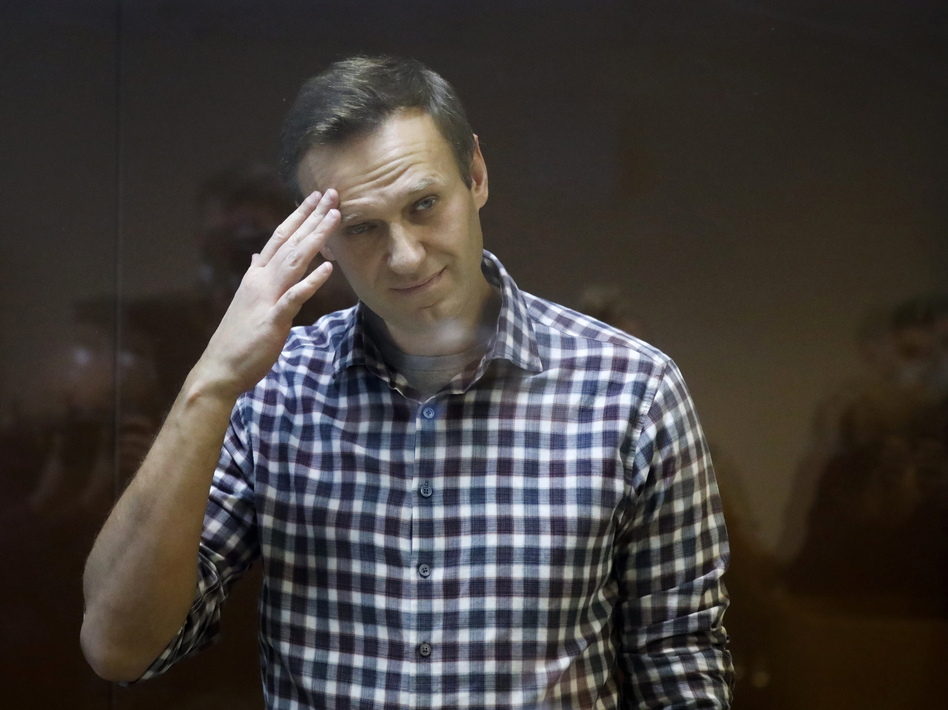Russian opposition leader Alexei Navalny, shown here in a February court session, reportedly has lost more than 30 pounds since his arrest. (Alexander Zemlianichenko/AP)