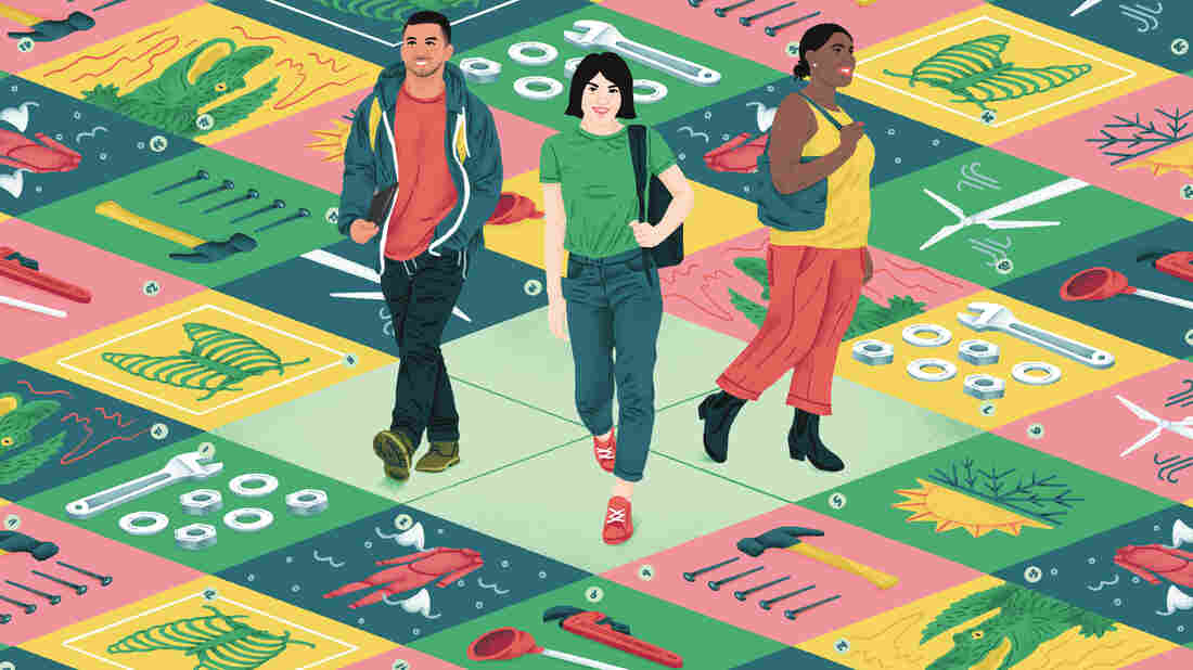Three young adults stand in the center of the frame on a sort of game board. They look out over a series of squares featuring different symbols representing trade jobs including jobs in clean energy, construction, the medical field, plumbing, heating and cooling and animal care.