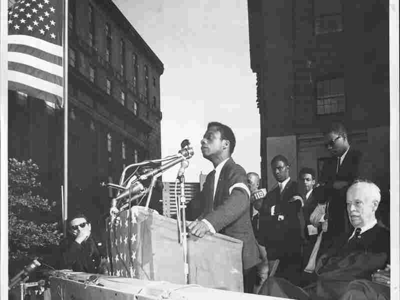 James Baldwin addresses a crowd of 10,000 in New York City where they mourn the victims of the Birmingham church bombing, September 28, 1963.
