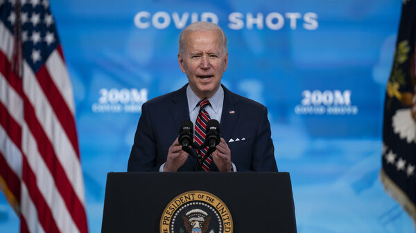 When President Biden arrives to give his speech to a joint session of Congress on Wednesday night, he will be masked as he enters what will be a noticeably less crowded, more socially distanced House chamber. Here, Biden speaks about COVID-19 vaccinations at the White House.