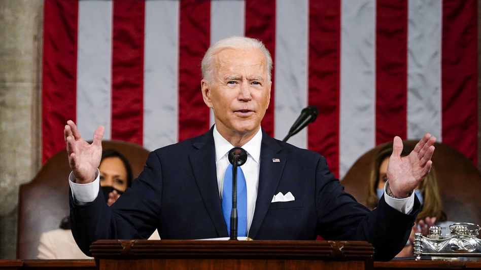 President Biden addresses a joint session of Congress Wednesday evening in the U.S. Capitol. (Melina Mara/Pool/The Washington Post via AP)
