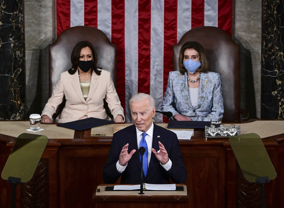 President Biden addresses a joint session of Congress. Biden made the pitch for a larger federal role in American society and marked history in the House chamber with two top women: Vice President Harris and House Speaker Nancy Pelosi. (Jim Watson/AP)