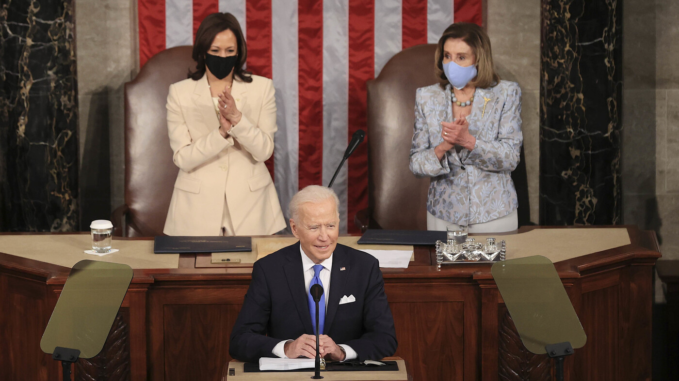 Biden Delivers Address Flanked By Pelosi And Harris In Historic First – NPR
