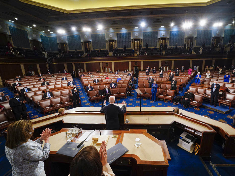 In non-pandemic times, a president addressing a joint session of Congress can expect an audience of roughly 1,600 people. For President Biden on Wednesday, the audience was closer to 200. (Melina Mara/AP)