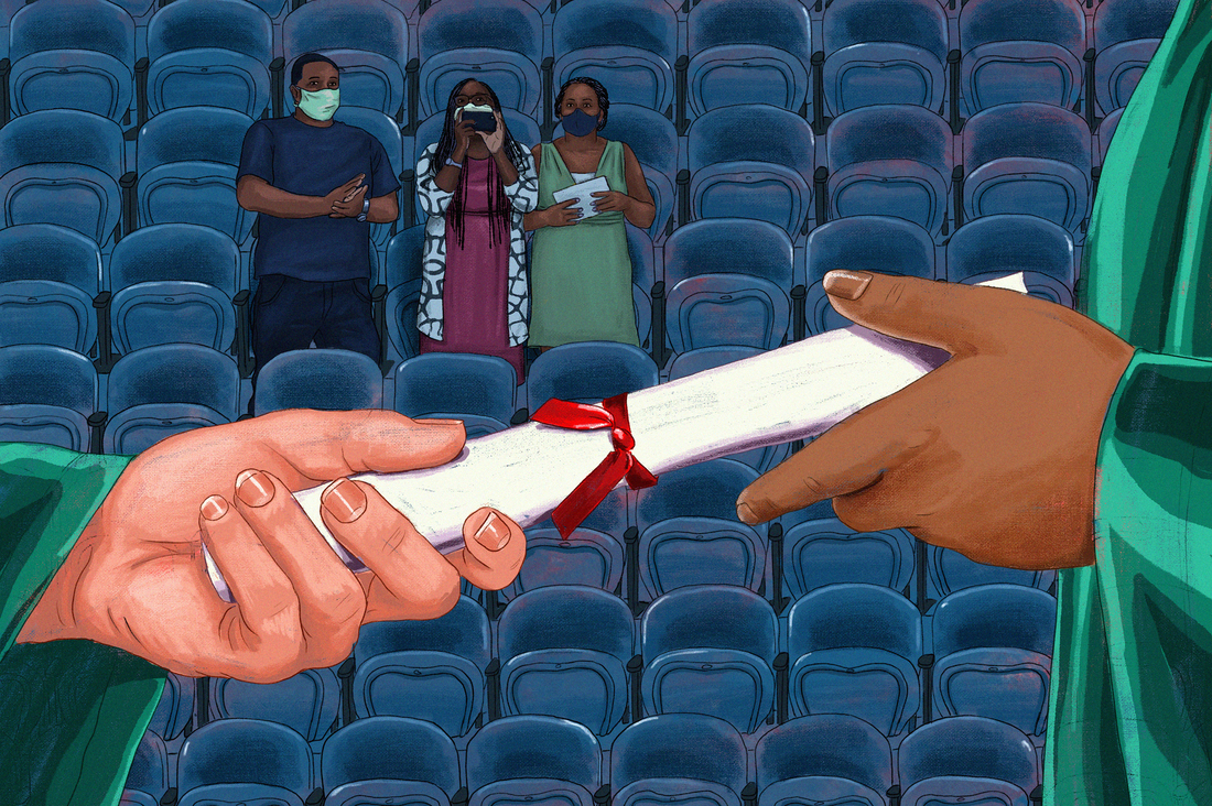 An illustration of a student being handed a diploma as a family looks on in an empty auditorium.
