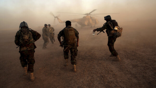 Afghan army commandos train at the Shorab military camp in Helmand province, in southern Afghanistan, in 2017. With U.S. and NATO forces leaving in the coming months, the Afghan forces will have to confront the Taliban without support from Western countries.