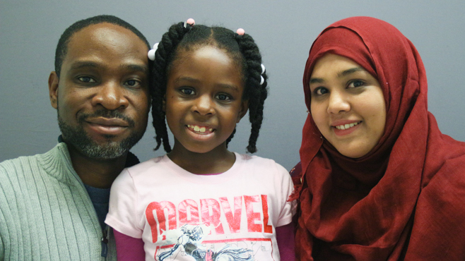 Rich Jean; his daughter, Abigail Jean; and librarian Hasina Islam at StoryCorps in Brooklyn, N.Y., in 2016.