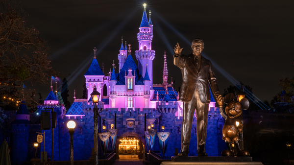 Disneyland's Sleeping Beauty Castle was lit up this week, as the theme park prepared to reopen on Friday, April 30. State health restrictions allow the resort to operate at 25% capacity.