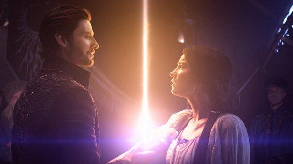Ben Barnes plays General Kirigan and Jessie Mei Li plays Alina Starkov in Netflix's Shadow and Bone.