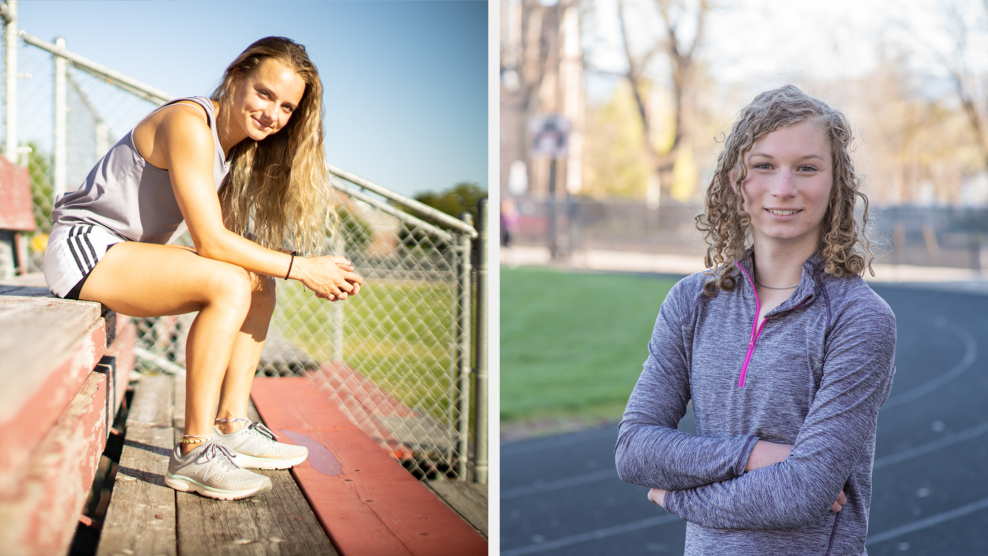 Madison Kenyon (left), who is cisgender, runs track and cross-country at Idaho State University. She supports Idaho's transgender sports ban. Lindsay Hecox (right) is transgender and hopes to make the women's track and cross-country teams at Boise State University.