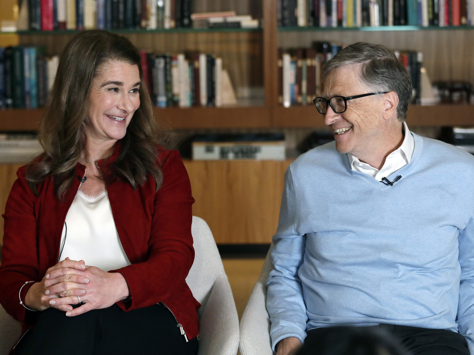 Bill and Melinda Gates smile at each other during an interview in Kirkland, Wash., in 2019. The couple announced on Monday that they are divorcing. (Elaine Thompson/AP)