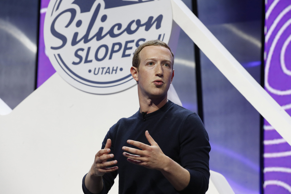 Facebook CEO Mark Zuckerberg addresses the Silicon Slopes Tech Summit in Salt Lake City in January 2020.