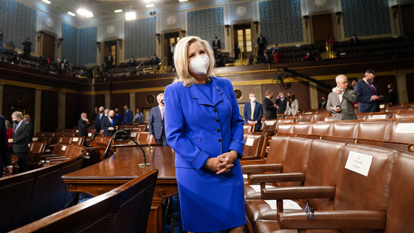 The political future of GOP Rep. Liz Cheney, seen here on April 28 ahead of President Biden