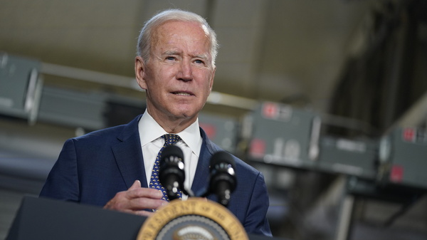 President Biden speaks at Tidewater Community College, in Portsmouth, Va., on Monday. The White House is hoping to have 70% of adults vaccinated against the coronavirus by July 4.