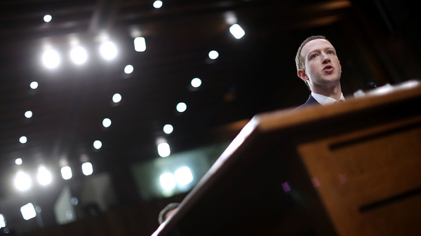 Facebook co-founder, Chairman and CEO Mark Zuckerberg testifies before a Senate panel in April 2018. On Wednesday, an independent Facebook oversight board is set to decide whether the company should keep its indefinite ban on Donald Trump.