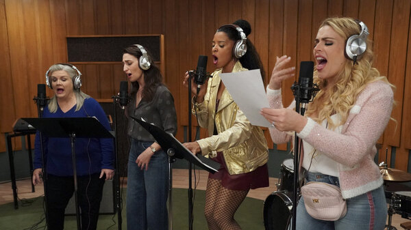 The ladies of Girls5eva: Gloria (Paula Pell), Dawn (Sara Bareilles), Wickie (Renée Elise Goldsberry), and Summer (Busy Philipps).