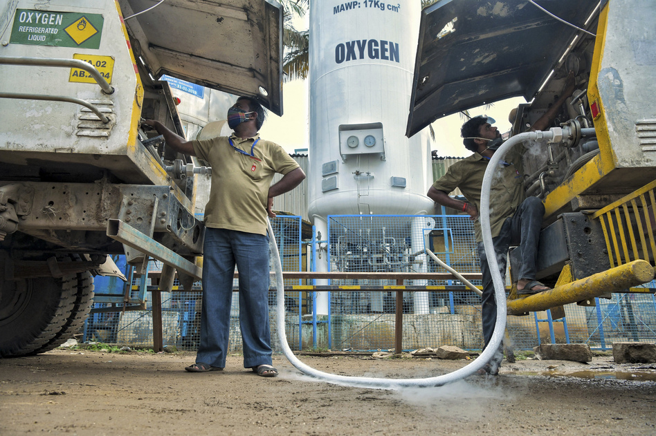 A tanker is refilled with oxygen for hospitals and medical facilities in Bengaluru on May 5.
