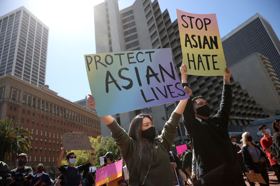 Protesters held a rally in March at San Francisco's Embarcadero Plaza in solidarity with Asian Americans who have recently been the targets of hate crimes across the United States. (Justin Sullivan/Getty Images)