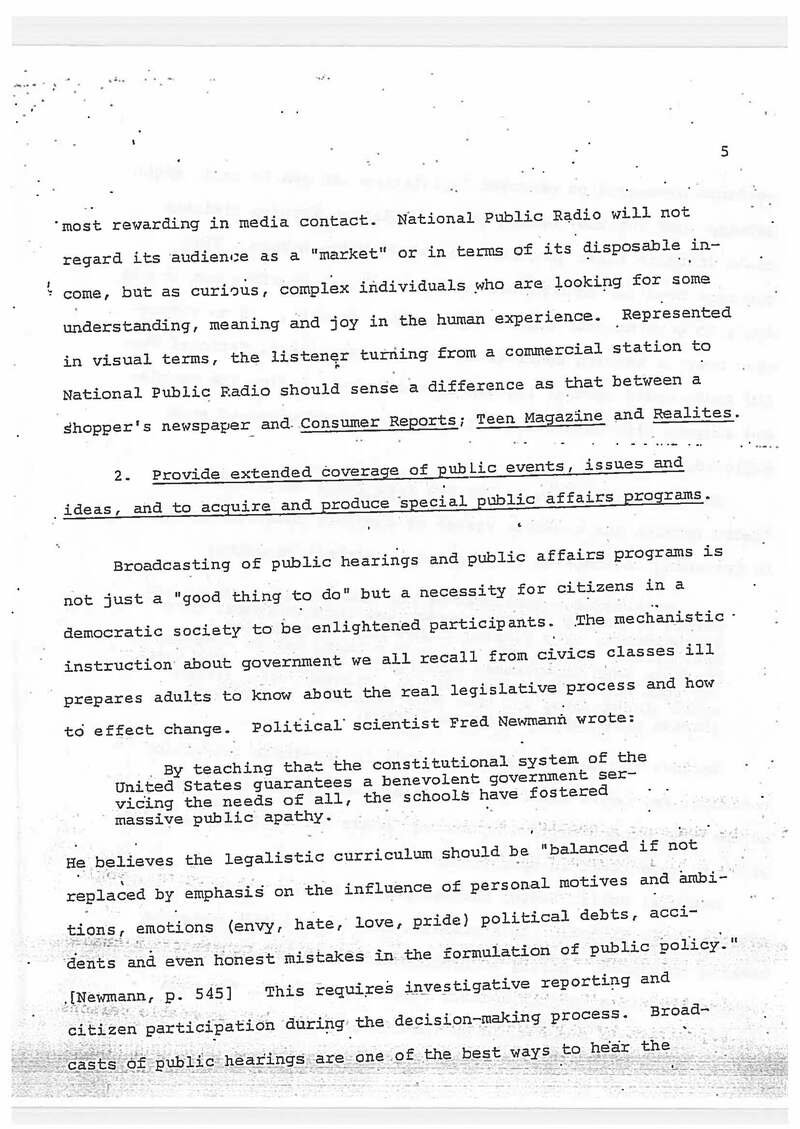 Goals of National Public Radio by Bill Siemering: NPR