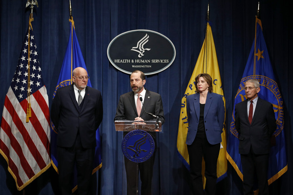 Dr. Nancy Messonnier joins other officials during an early coronavirus briefing in January 2020 — Dr. Robert Redfield (left), then CDC director; Alex Azar (center), then Department of Health and Human Services secretary; and Dr. Anthony Fauci.