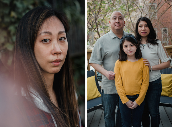 Left: Danielle Miller, 36, is a South Korean adoptee raised by white Jewish parents. Right:  Cliff Akiyama, 47, and his wife, Romana Lee-Akiyama, 42, and their daughter, Hanalee Akiyama, 10, stand together for a portrait at their home.