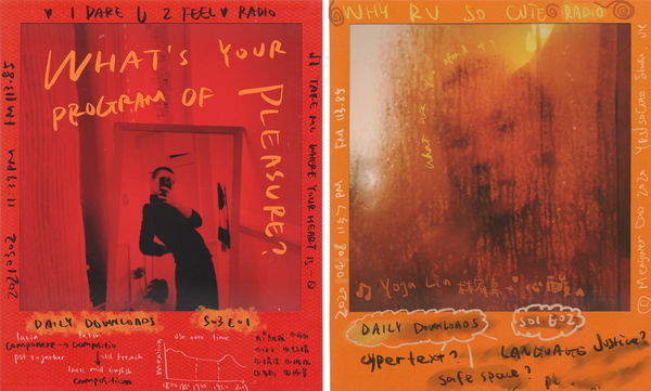 Playground Radio is a self-preservation project that centers around vulnerability and play. In this visual diary started during COVID-19, Mengwen Cao embeds their inner dialogues and cultural influences into self-portraits to unflatten layers of identity and reflect on what's happening politically and in society.
