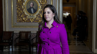 Rep. Elise Stefanik of New York, seen here at the U.S. Capitol during the impeachment trial of former President Donald Trump on Jan. 23, is poised to replace Rep. Liz Cheney as the No. 3 Republican in the House.