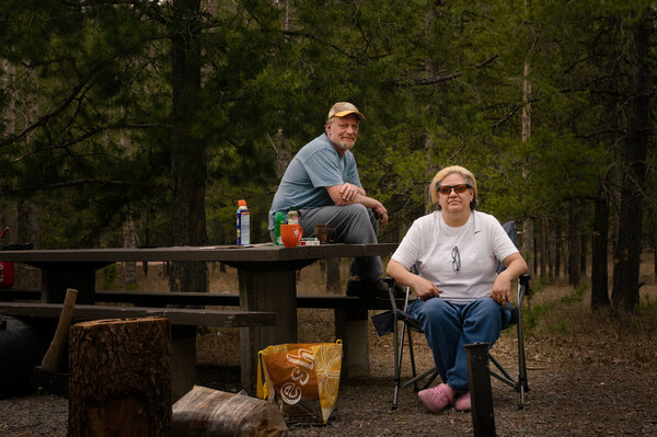 Wendi Phelps and her husband camp at Big Creek Campground in Flathead National Forest in Montana.