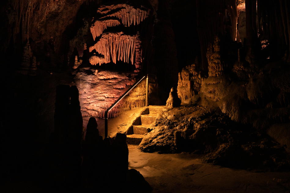 Stairs made by the CCC in the caverns at Lewis and Clark Caverns State Park in Montana.