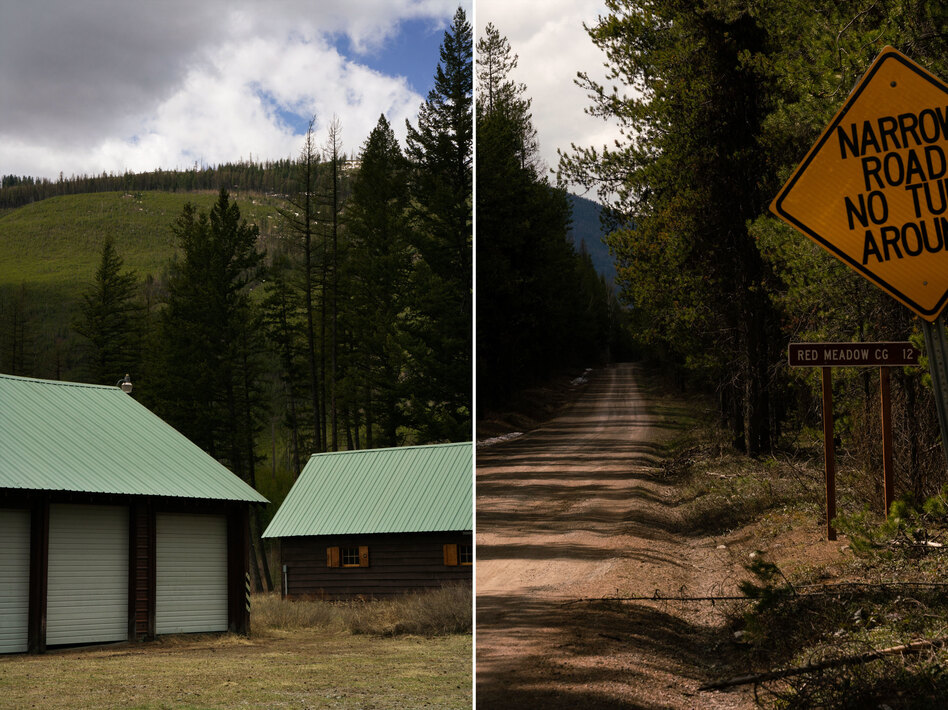 Left: Buildings at Big Creek Ranger Station in Flathead National Forest in Montana, where the CCC built many improvements in the 1930s, including a barn, fence, mangers, water trough and pipeline, shop/garage (left), dwelling and administration building. Right: CCC enrollees in the late 1930s built the Red Meadow Road in the North Fork, also in Montana.
