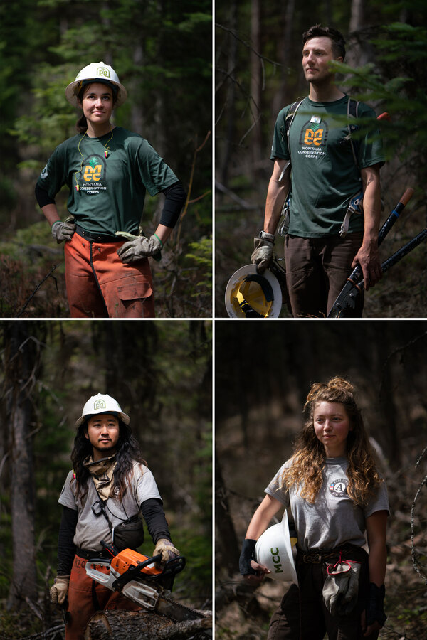 Clockwise from top: Emily Brown, 22; Jack O'Hanlon, 23; Kaile Kimball, 23; and Teppei Fujimoto, 25, members of the Montana Conservation Corps.