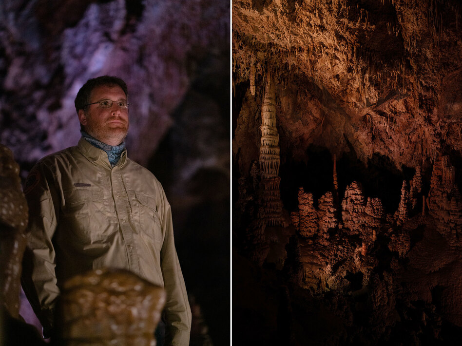 Tom Forwood (left), park assistant manager at Lewis and Clark Caverns State Park. Formations (right) in the caverns.