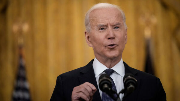 President Biden delivers remarks on the economy in the East Room of the White House on Monday, pushing back on critics who say the American Rescue Plan is making the economy worse.