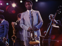 From left, trumpet player Freddie Hubbard, saxophonist Johnny Griffin, Curtis Fuller and bassist Reggie Workman, on stage at Town Hall in New York on Feb. 22, 1985.