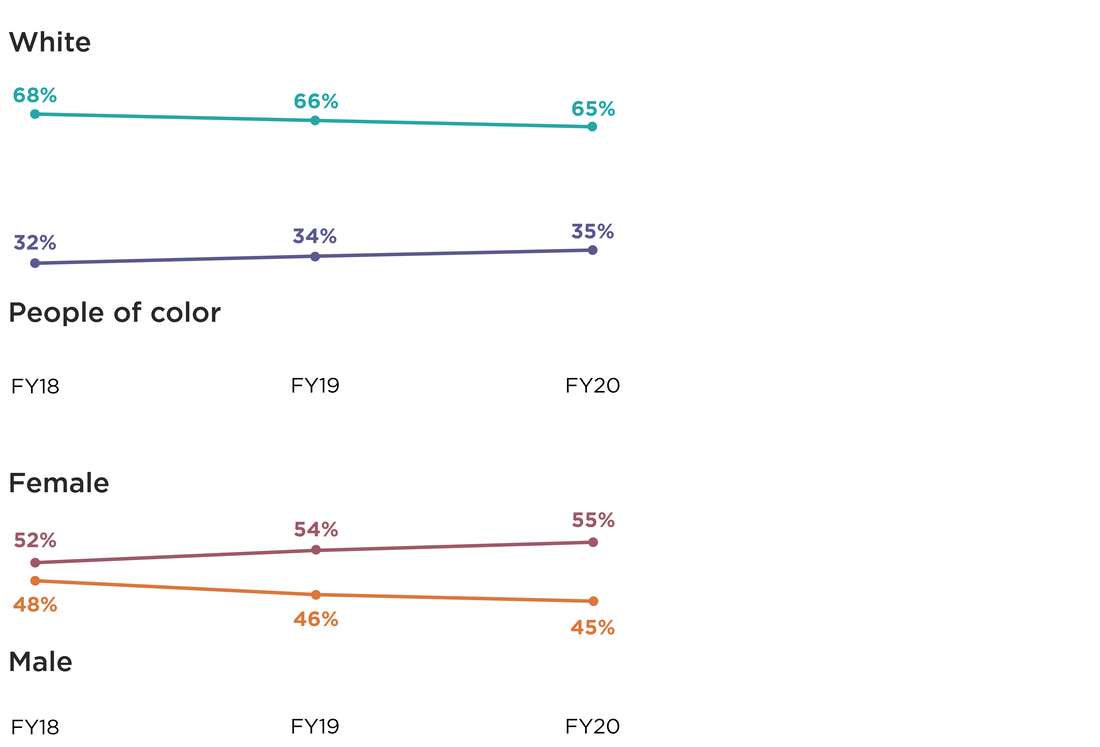 Two line graphs illustrating the Race/Ethnicity and Gender representation over 3 years from Fiscal Year 2018 to FY20. For Race/Ethnicity, in FY18, 32% identified as people of color, and 68% as white. FY19: 34% people of color, 66% white. FY20: 35% people of color, 65% white. For Gender Identity, in FY18, 52% identified as female, 48% as male. FY19: 54% female, 46% male. FY20: 55% female, 45% male.