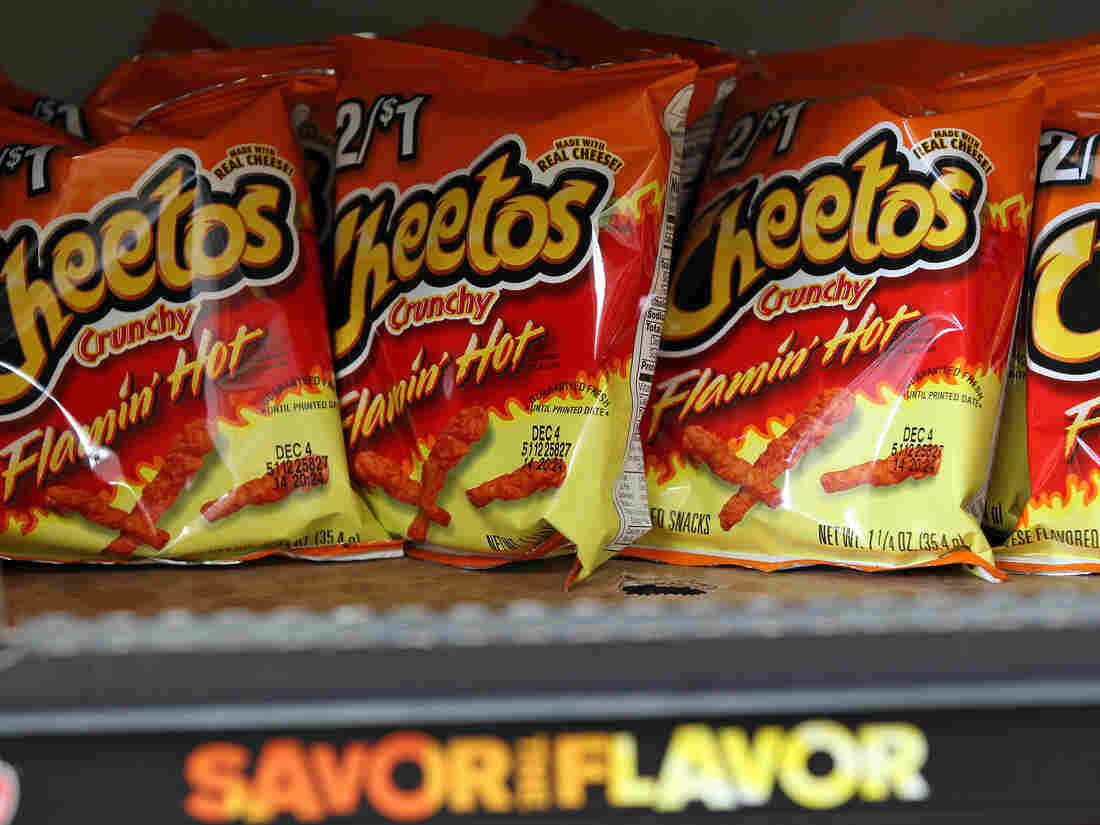 Bags of Cheetos Crunch Flamin' Hot are displayed at a store in Chicago.