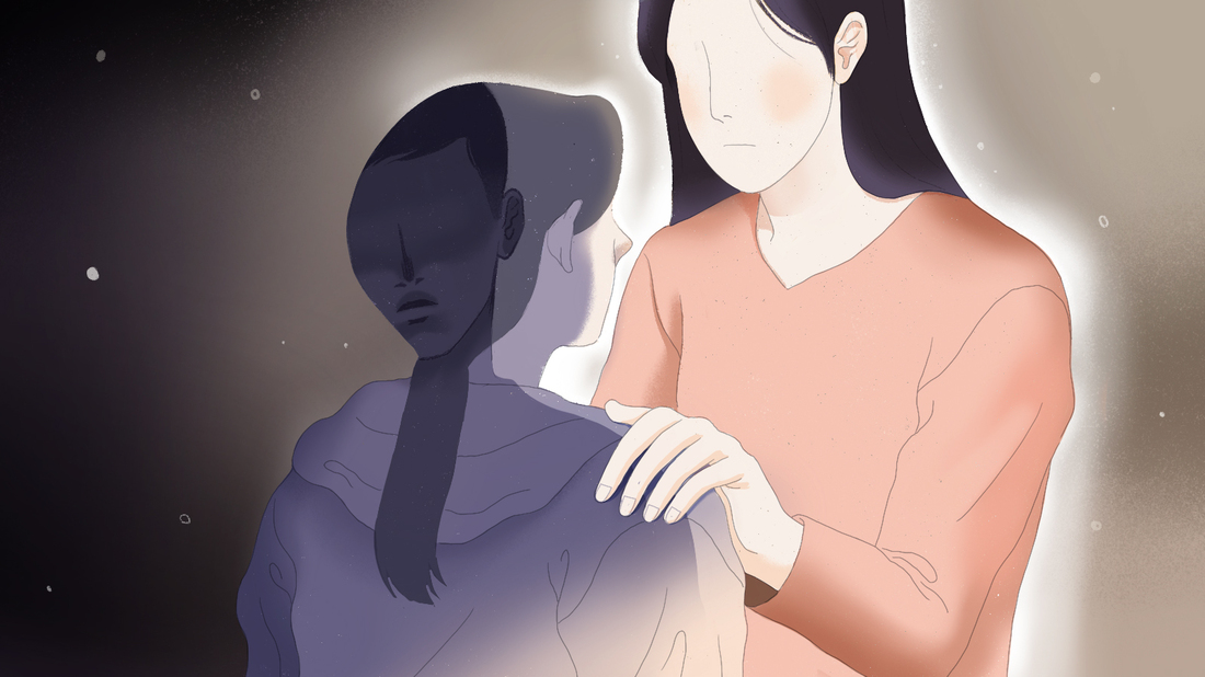 An illustration of a teenage girl with the shadow of a figure cast across her back. The girl faces her mother, who has her hand on her shoulder. The background shifts from dark to light as the girl is comforted by her mom.