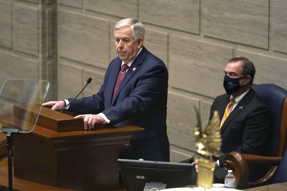Missouri Gov. Mike Parson, a Republican, at this year's State of the State address in Jefferson City, Mo., when he declared he would