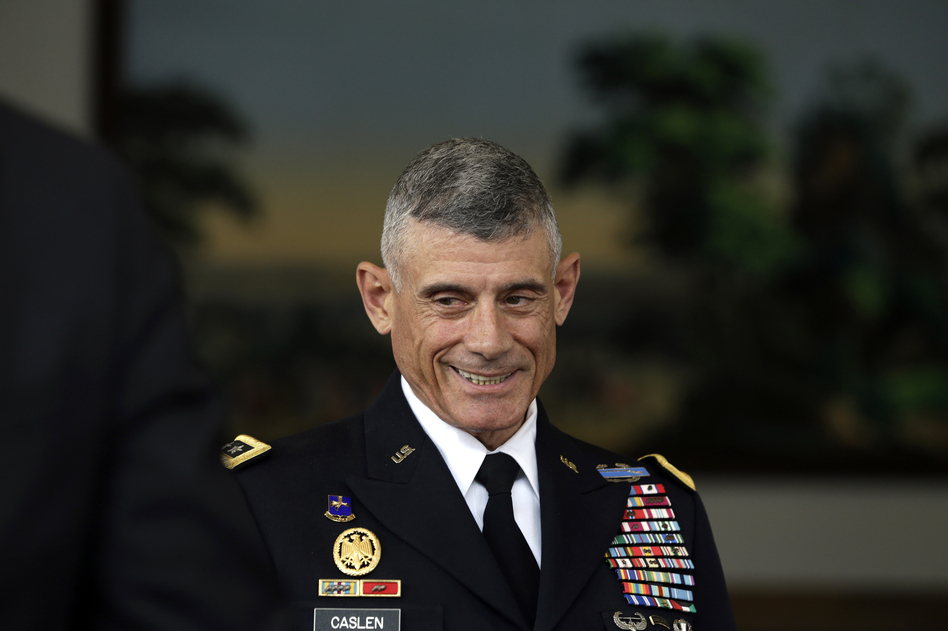 Retired Army Lt. Gen. Robert Caslen, pictured in 2014 when he was superintendent of the U.S. Military Academy, resigned Wednesday as president of the University of South Carolina.