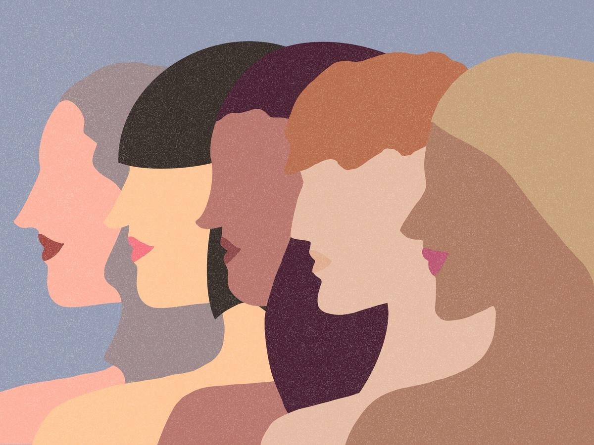 Mulheres, menina, grupo, diversidade, colagem, confiança, poder feminino, pessoas, moda, humano