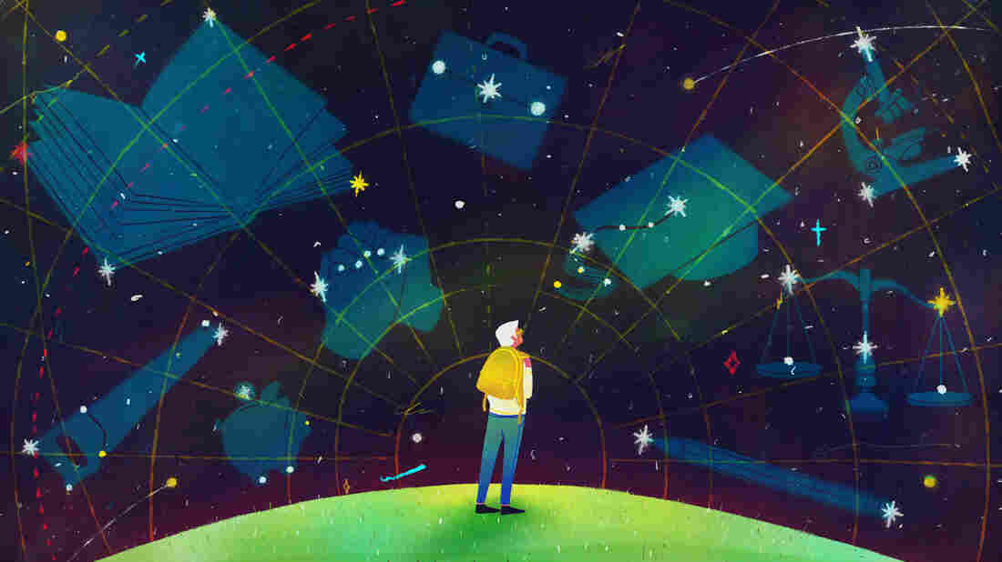 A figure wearing a yellow backpack looks into the stars, where there are outlines of graduation caps, pencils, a piggy bank, a saw and a scale.