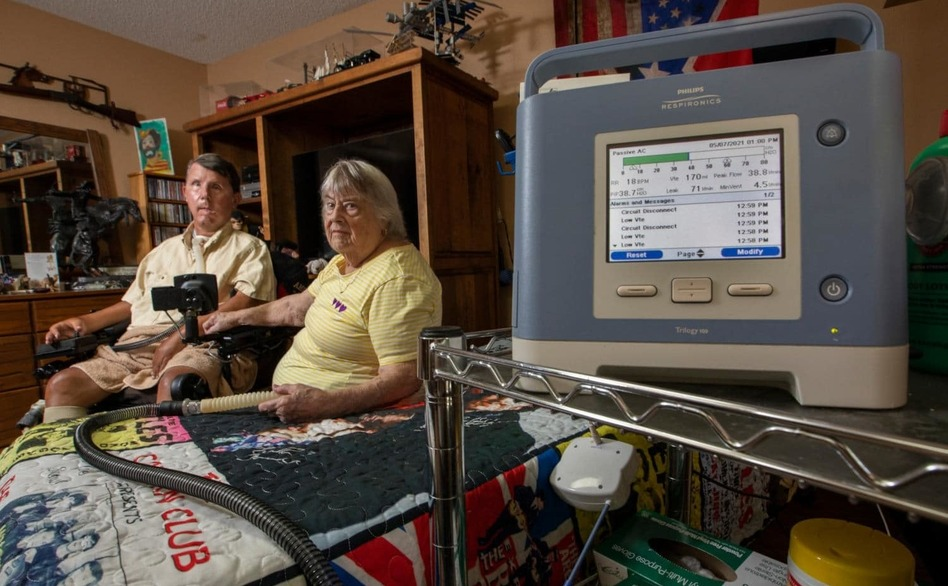 David Taylor (with his mother Dorothy, who is his caregiver) has relied on a ventilator to breathe for 40 years. Without it,