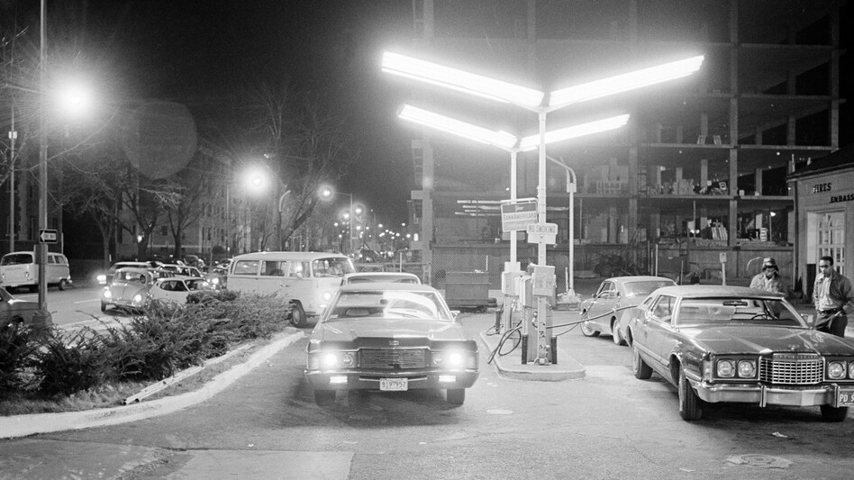 Cars line up at a Washington, D.C., service station in December 1973 during the first Arab oil embargo.