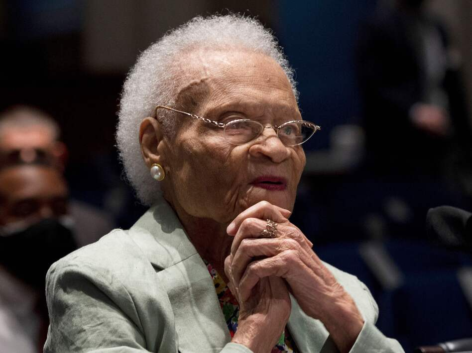 """Viola Fletcher, the oldest living survivor of the Tulsa Race Massacre, tells a congressional hearing: """"I have lived through the massacre every day. Our country may forget this history, but I cannot."""" (Jim Watson/AFP via Getty Images)"""