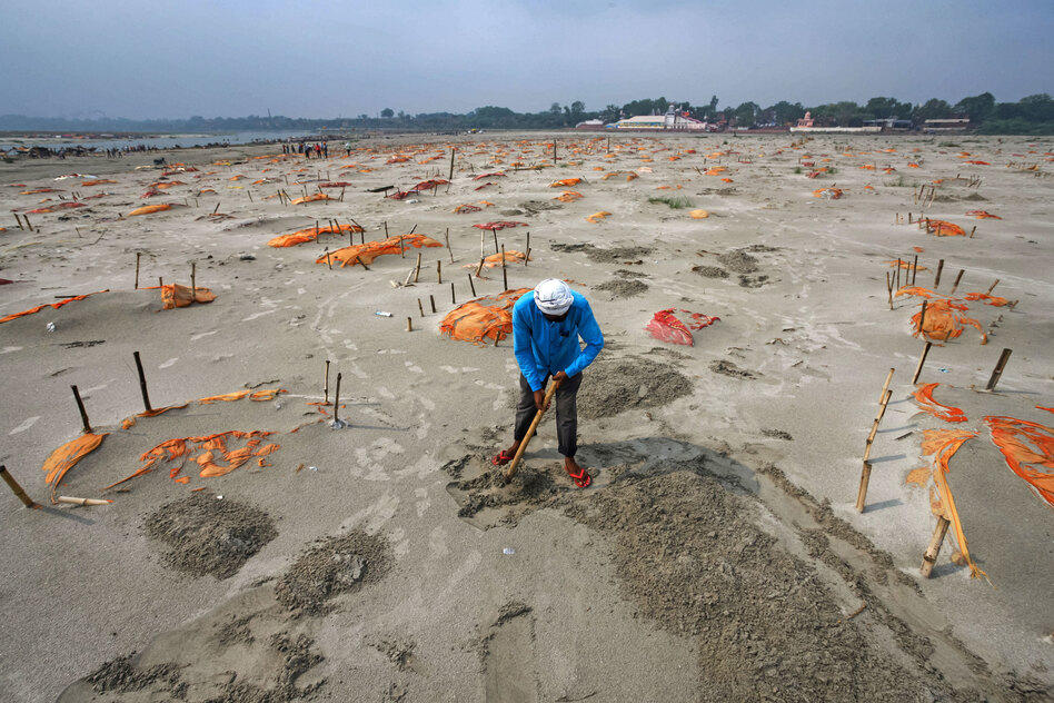 Rains have washed away the top layer of sand of shallow graves at a cremation ground on the banks of the Ganges River in Shringverpur, northwest of Allahabad, Uttar Pradesh, India. Coronavirus testing is limited in parts of rural India, but some of the people buried there are believed to have died of COVID-19. (Ritesh Shukla/Getty Images)