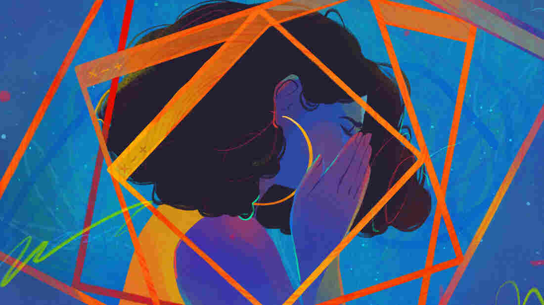 Illustration of a Black woman in profile from the shoulders up, holding her face in her hands as browser screens spiral in front of and behind her. The whole image is awash in blue, accented by swirling lines throughout.