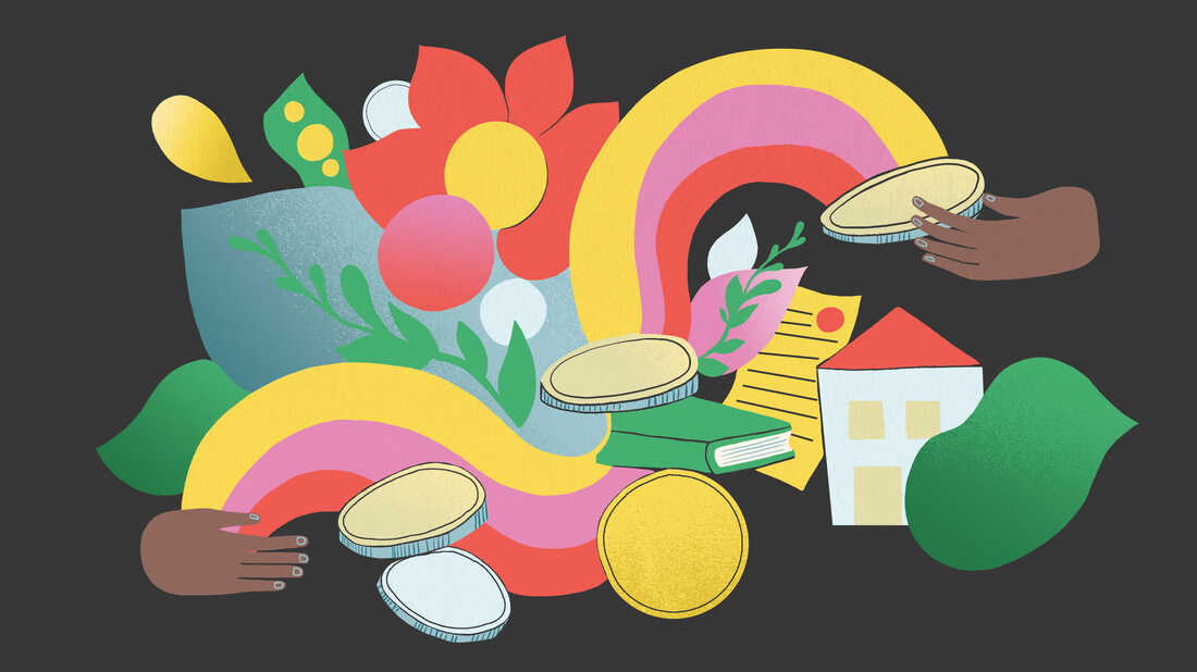 Illustration of one hand at the bottom left gesturing toward a cornucopia of lush greenery, coins, a home, papers and a rainbow, symbolizing a healthy financial legacy. Another hand receives the bounty at the top right.