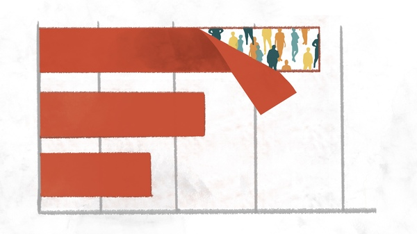 An illustration of a bar chart. The leading bar peels away to show multiple colorful silhouettes of people underneath.