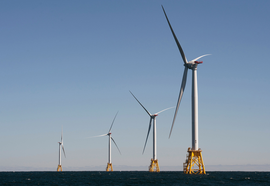 The Biden administration is opening the West Coast to offshore wind. Companies have largely focused on the East Coast, such as this wind farm off Block Island, R.I. (Don Emmert/AFP via Getty Images)